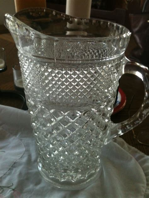 Antique Glass by Vintage Glass Pitcher 171 Homespun