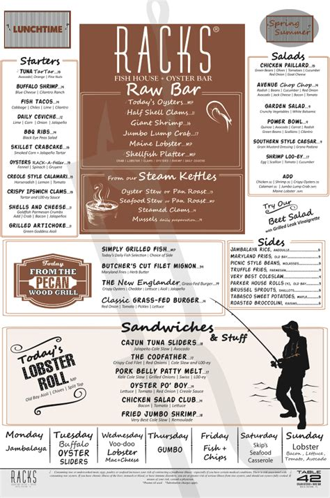 Racks Restaurant Menu Prices Philippines by Menu For Rack S Fish House And Oyster Bar 5 Se 2nd Ave