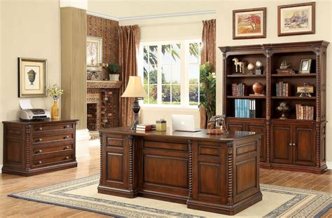 vicki oak home office set from furniture of america