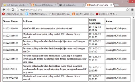tutorial gammu php membuat aplikasi untuk mengecek status pengiriman sms di