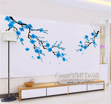 blue wall stickers items similar to blue cherry blossom wall decals white