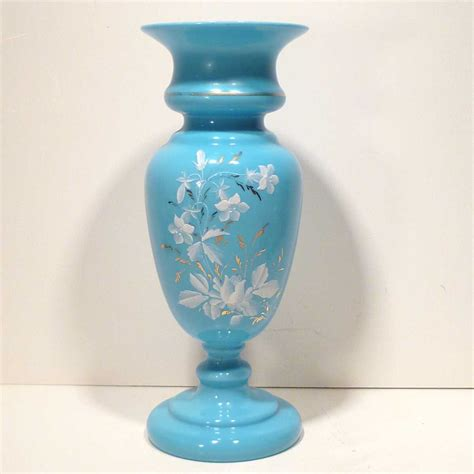 large antique decorated blue bristol glass vase from