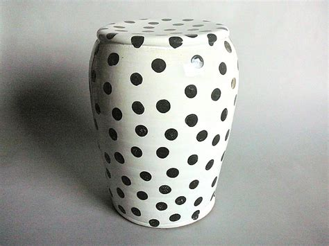 black and white ceramic garden stool garden stool white glaze and small black polka dots by