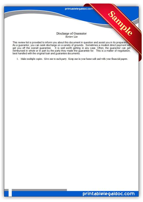 Guarantee Discharge Letter Free Printable Discharge Of Guarantor Form Generic