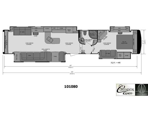 2 bedroom 5th wheel floor plans 2 bedroom fifth wheel floor plans continental coach custom