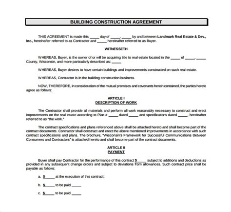 construction agreement templates sample templates