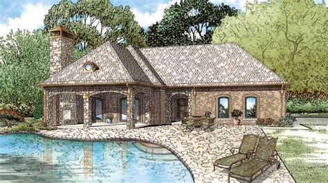 pool guest house plans guest home plan with outdoor living room 60661nd architectural designs house plans