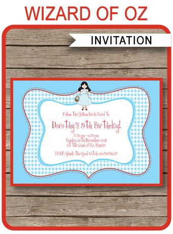 wizard of oz party invitations template birthday party