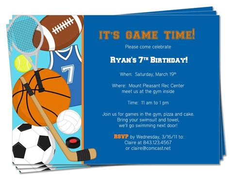 sports themed birthday invitations printable birthday sports theme invitation by