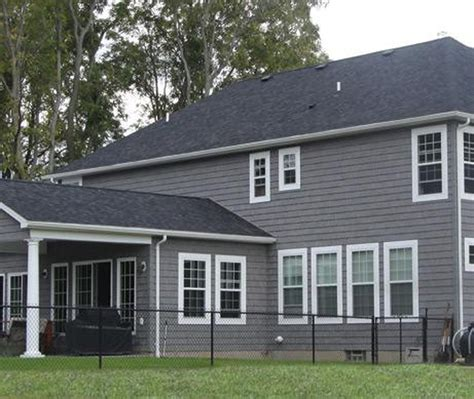 exterior grey georgia pacific vinyl siding color design ideas with tile roof and gable roof exterior white window frame design with georgia pacific