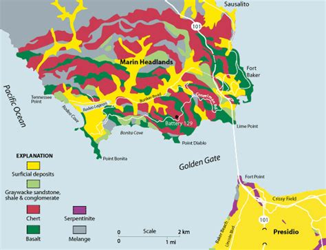 san francisco geological map geologic map and cross section presidio of san francisco