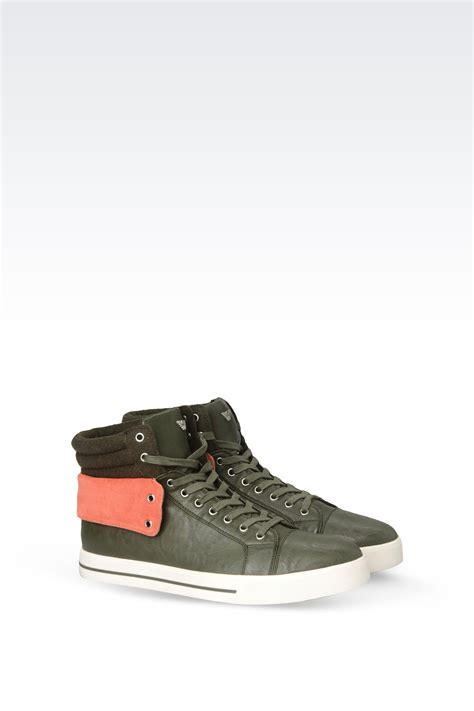 eco sneakers armani eco leather high top sneakers with
