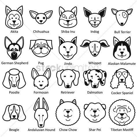 collection of dog faces vector image 1522758