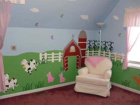 Farm Nursery Decor Nursery Wall Mural Farm Animal Wall Mural Self Adhesive Stencil Kit Nursery