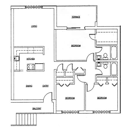 Three Bedroom Floor Plan by 3 Bedroom 2 Bath Ranch Houseplans