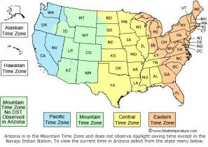 Map With Time Zones by Time Zone Boundaries