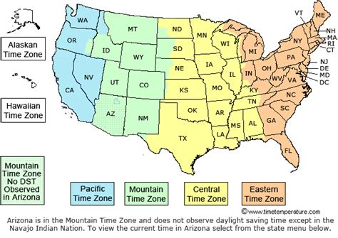 us map of states with time zones time zone