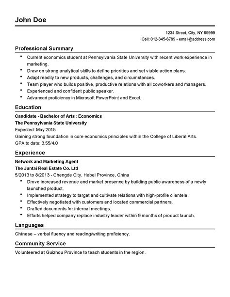 Harvard Resume Sle by Contemporary Economics Major Resume Pattern Resume