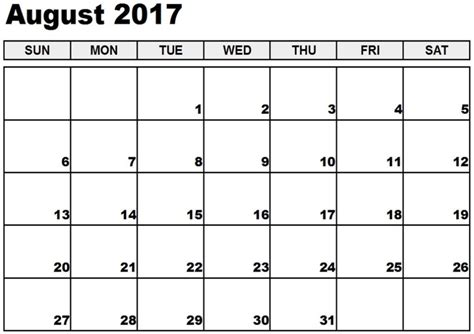 August 2017 Editable Calendar Editable Schedule Template