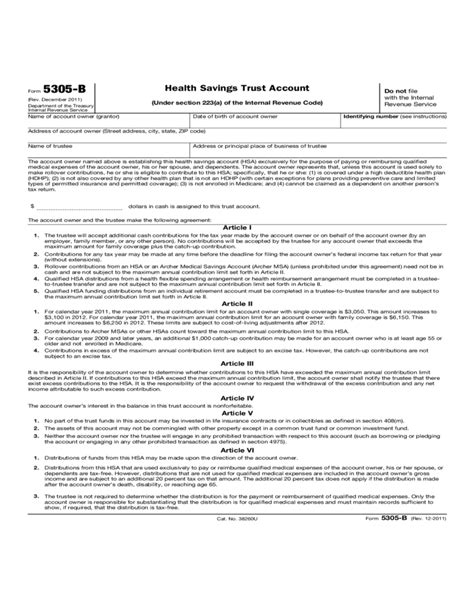 Revenue Code Section 223 by Form 5305 B Health Savings Trust Account 2012 Free