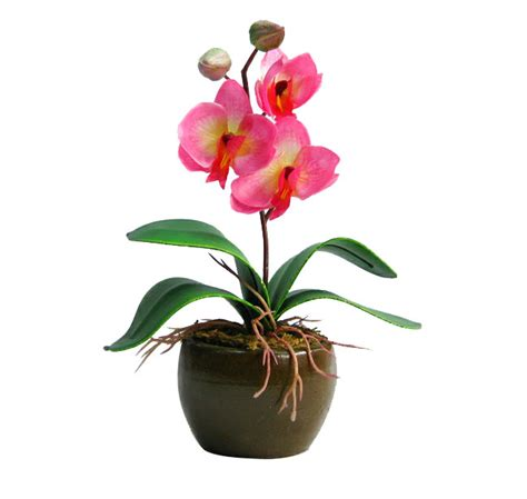 send small orchid plant with vase light pink to all over india order artificial flower