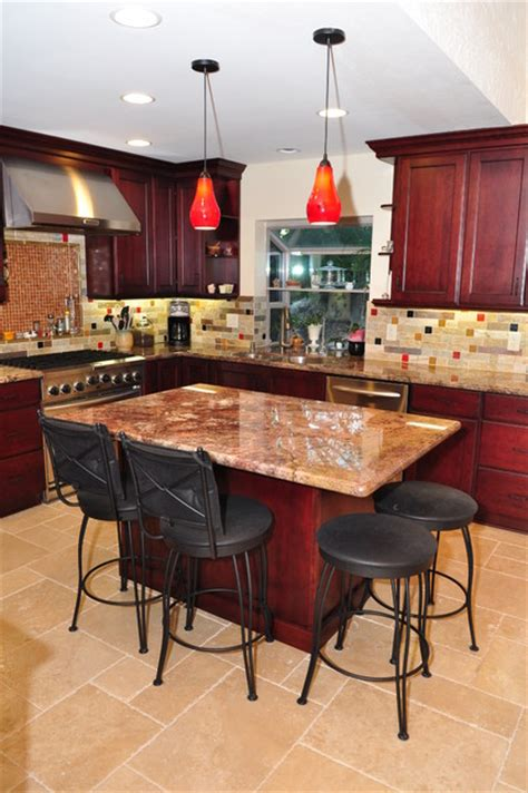 cherry wood kitchen island dynasty cherry wood burgundy onyx modern kitchen