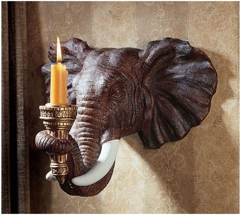 Elephant Wall Sconce 2 Elephant Candle Holders Wall Sconce Sculpture Display Light Ebay