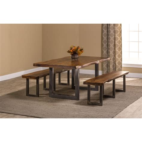 hillsdale emerson rectangle dining set hillsdale emerson 5674dtb 3 rectangle dining set with two benches dunk bright