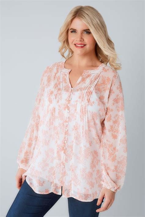 Yellow Big Floral Blouse Made In Spain Fashionme Fo Branded ivory blush pink floral print chiffon blouse plus size