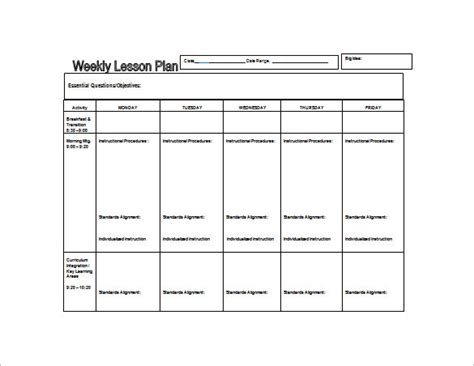 weekly lesson plan template excel weekly lesson plan template 8 free word excel pdf