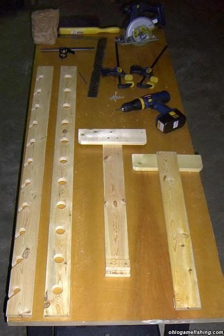 diy fishing pole storage home  rod rack pic