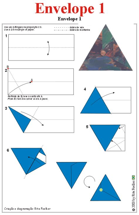 Origami Box Diagram - origami diagram envelope1 triangular envelope