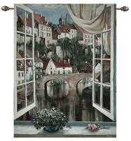 quaint town countryside view tapestry wall hanging h50 quot x w70 quot tapesty wall hangings with city country scenes