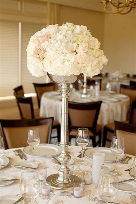 hydrangeas rose tall centerpiece weddingbee photo gallery