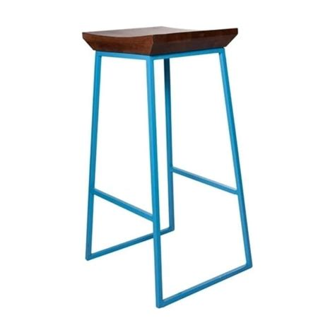 Blue Wooden Bar Stools Buy Blue Metal Industrial Style Bar Stool From Fusion Living