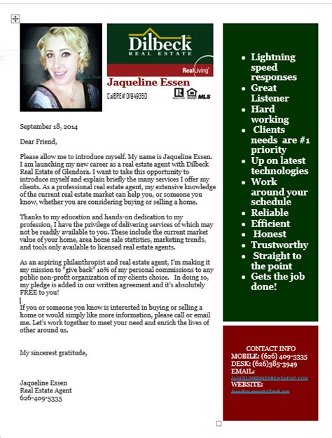 Introduction Letter To Home Seller introduction letter into my real estate career with dilbeck glendora ca real estate