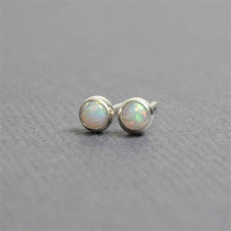 Handmade Opal Jewelry - tiny opal stud earrings handmade opal earrings sterling and
