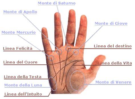 la mano sulla seconda parte della lettura palmo e delle linee della