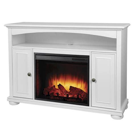 easton bleached linen media electric fireplace with remote