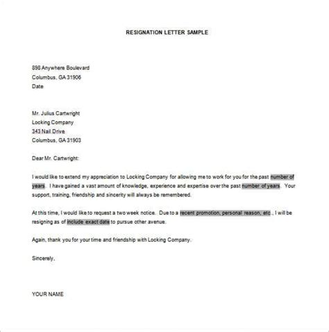 Resignation Letter Arts Council sle resignation letter in word format