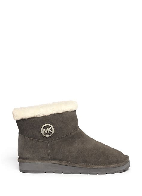 michael michael kors fur trim suede boots in gray grey