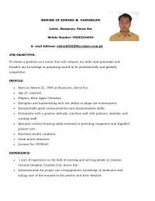 Resume Sample Nurses Without Experience by Basic Simple Filipino Nurse Resume Sample 2014 Simple