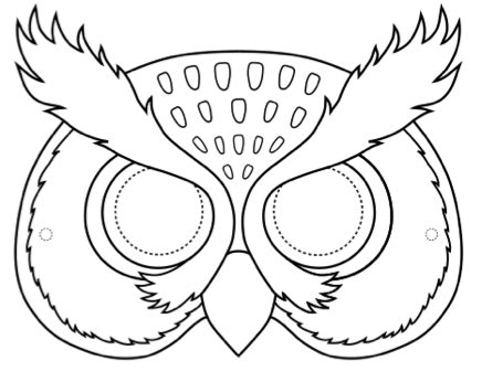 printable animal eye mask template art owl masks esl art teaching materials for primary