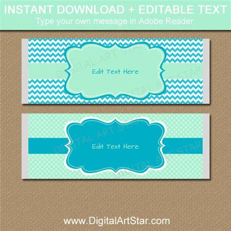 Baby Shower Chocolate Bar Wrappers Printable Candy Wrapper Template Mint Turquoise Party Bar Wrappers Template For Baby Shower Printable Free