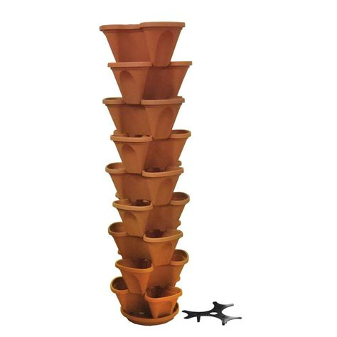 Stacking Planters nancy 12 in self watering terracotta stacking