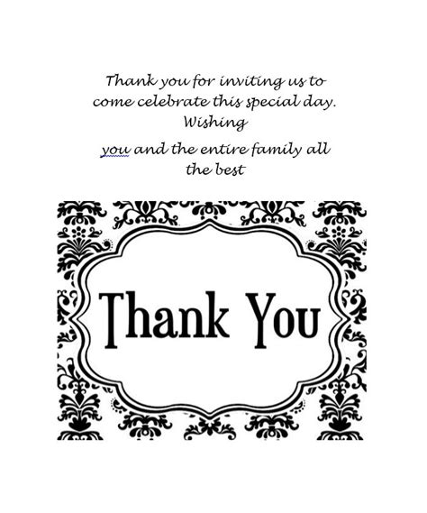 Graduation Thank You Card Templates Microsoft by 30 Free Printable Thank You Card Templates Wedding