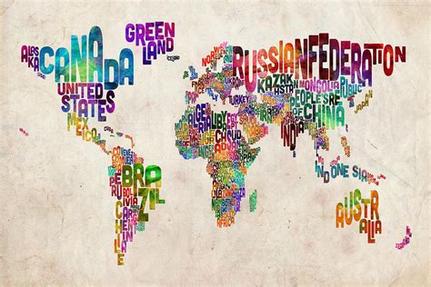 World Map Art by Text Map Of The World By Michael Tompsett