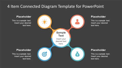 circular connected 4 steps powerpoint diagram slidemodel 4 item connected diagram template for powerpoint slidemodel