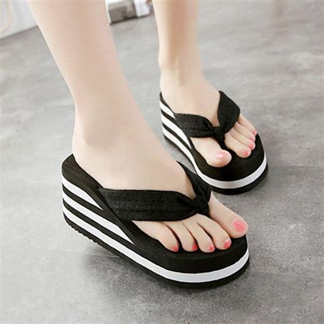 Sandal Wedges Flip Flop Kalp 5cm 6cm flip flop wedges heels summer sandals slippers shoes shoe light