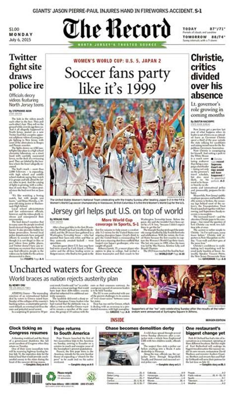 Bergen County Records Newspaper Front Pages U S S World Cup Win